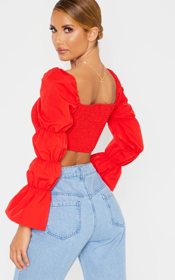 Red Ruched Long Sleeve Crop Top 2