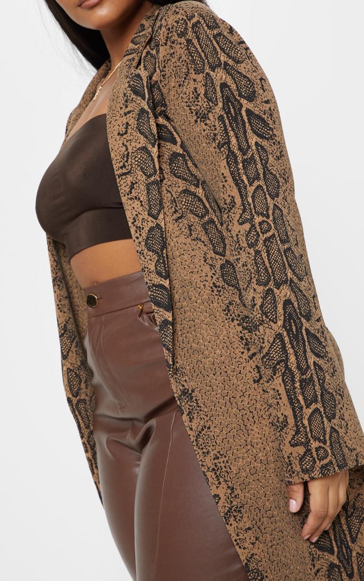 Plus Taupe Snake Print Longline Blazer 5