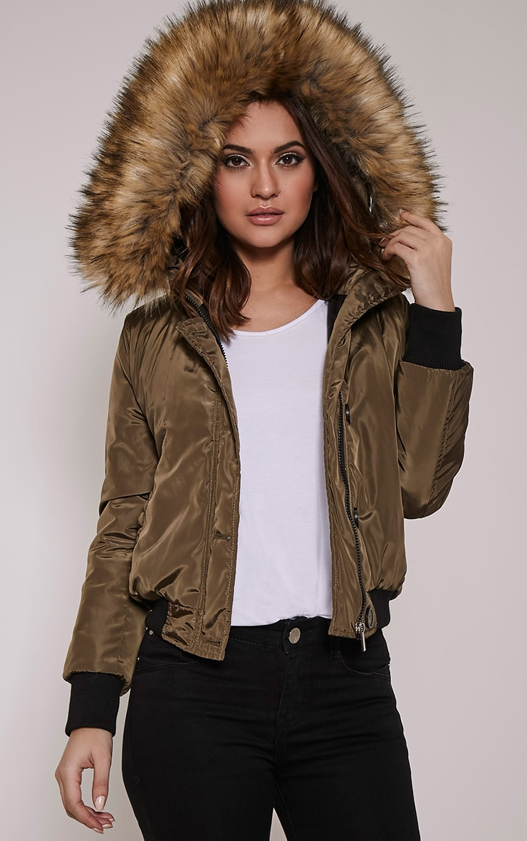 Lara Cream Premium Faux Fur Lined Crop Parka 1