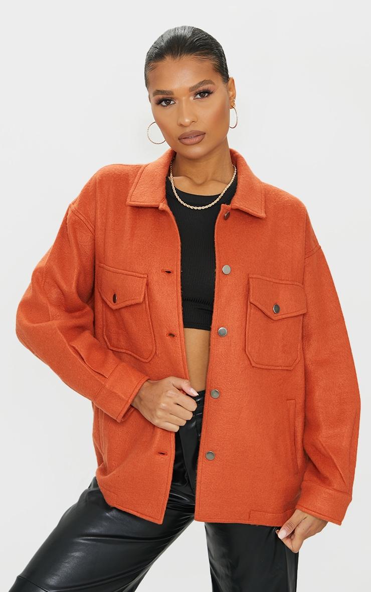 Veste style chemise rouille à poches devant 1