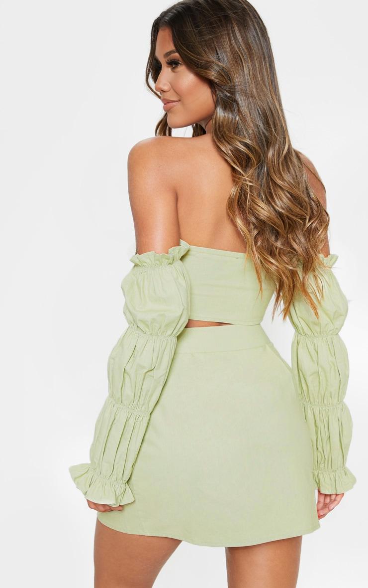 Sage Green Cotton Button Detail Puff Sleeve Shirt 2