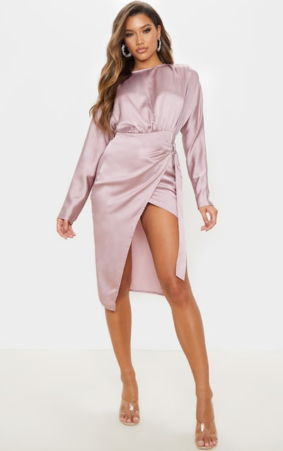 Mauve Satin Wrap Skirt Backless Midi Dress