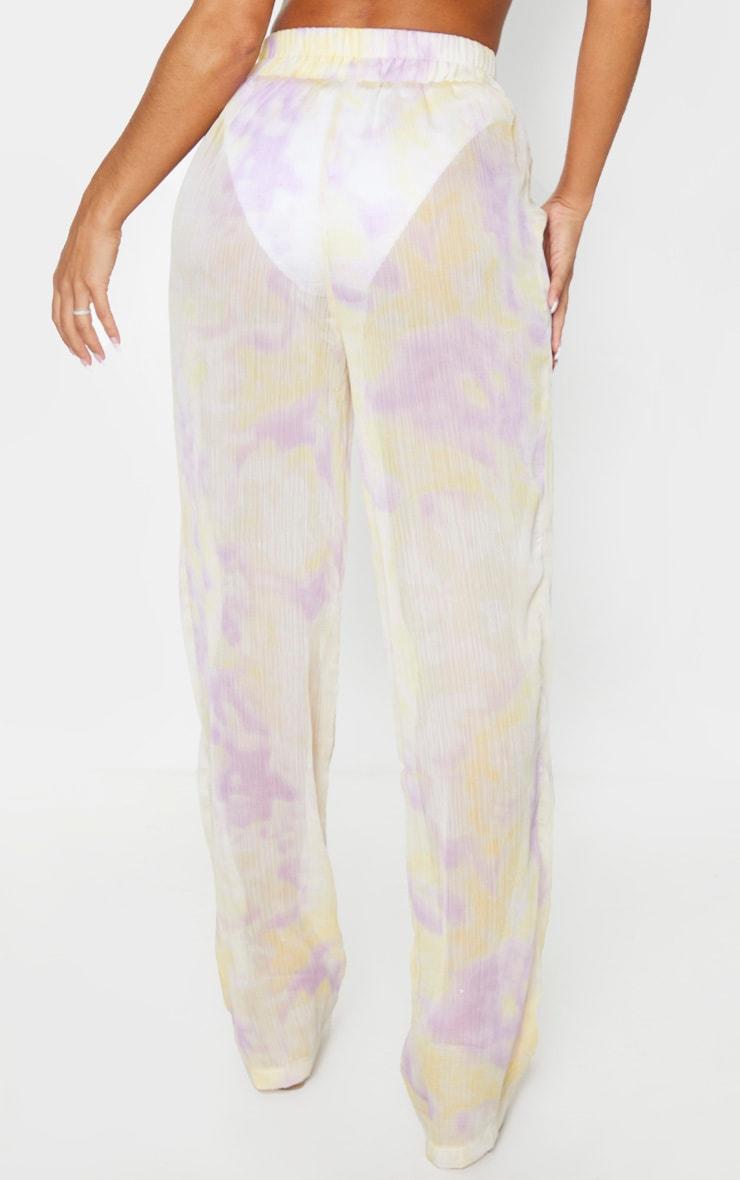 Lilac Tie Dye Wide Leg Beach Pants 3