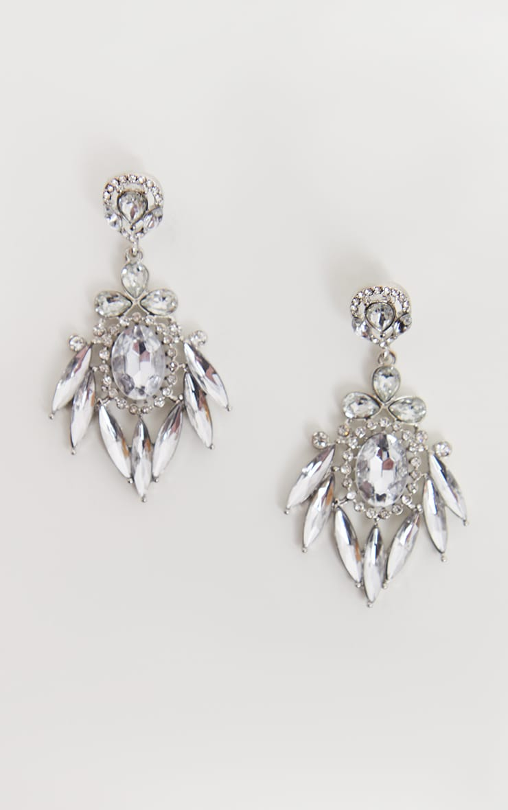 Silver Diamante Statement Earrings 2
