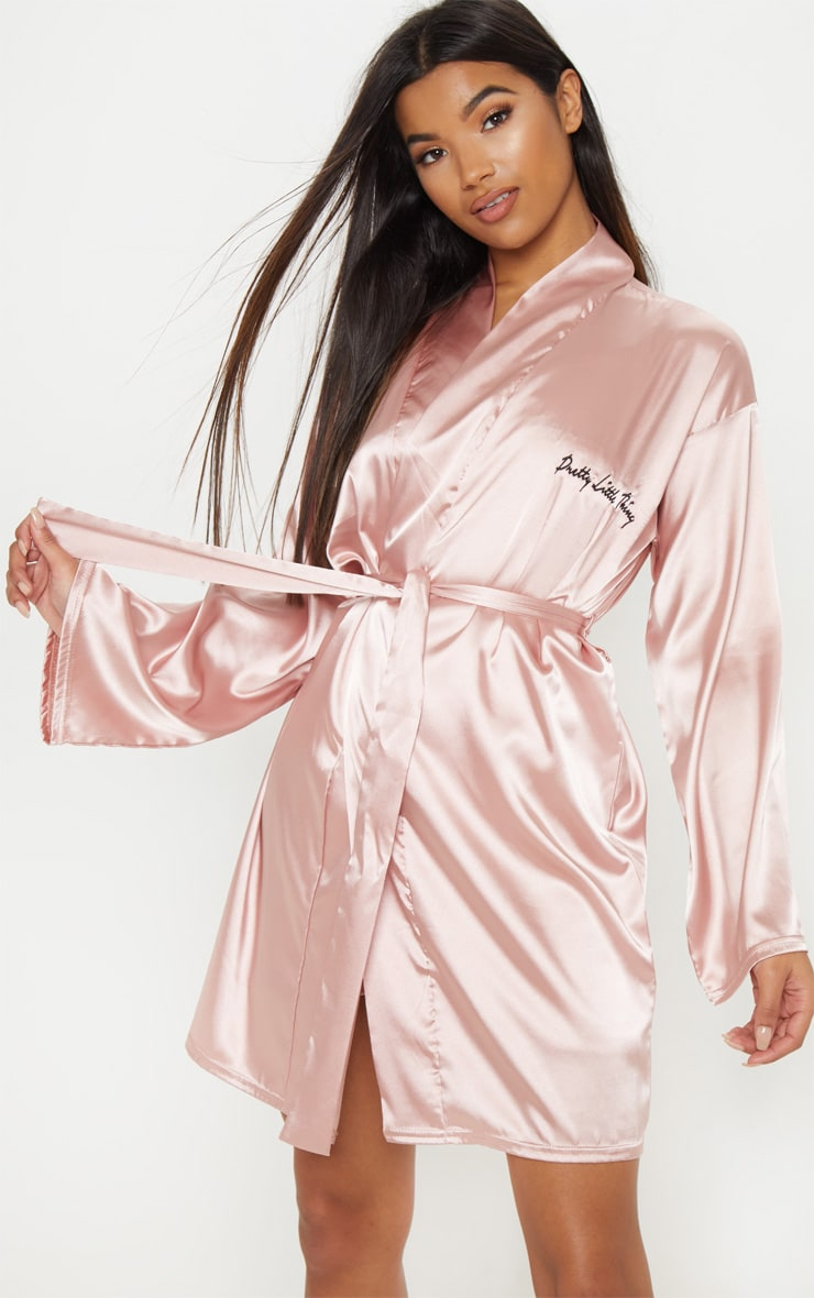 PRETTYLITTLETHING Rose Gold Satin Robe 1