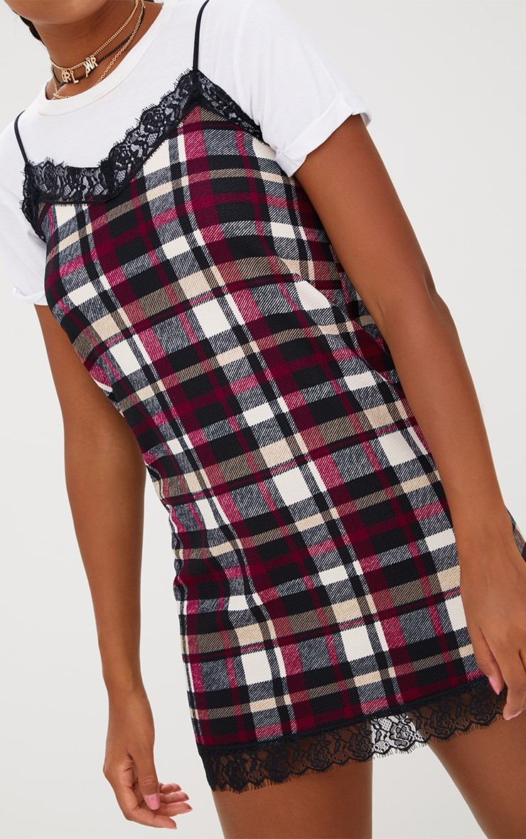 Black Check Eyelash Trim Shift Dress 4