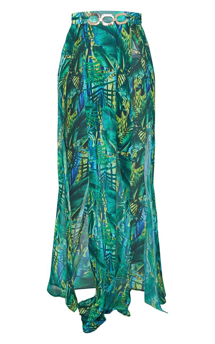 Green Tropical Gold Trim Split Front Beach Skirt 5