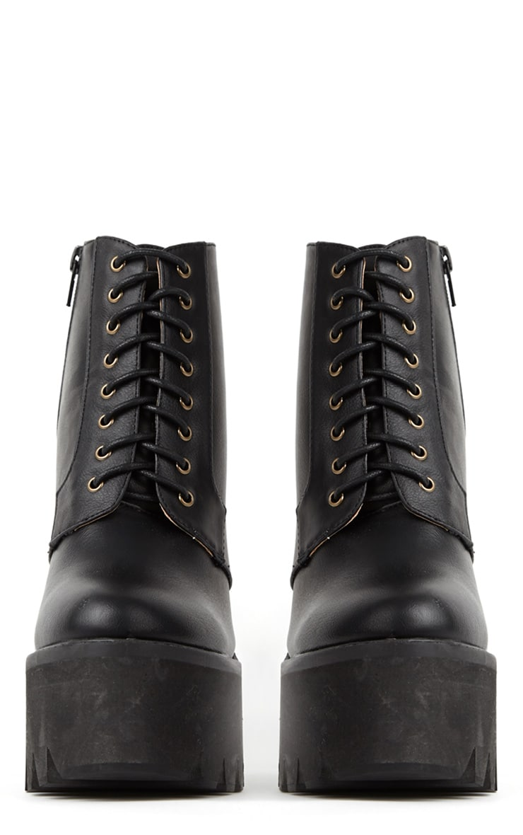 Wesley Black Chunky Lace Up Boots 3