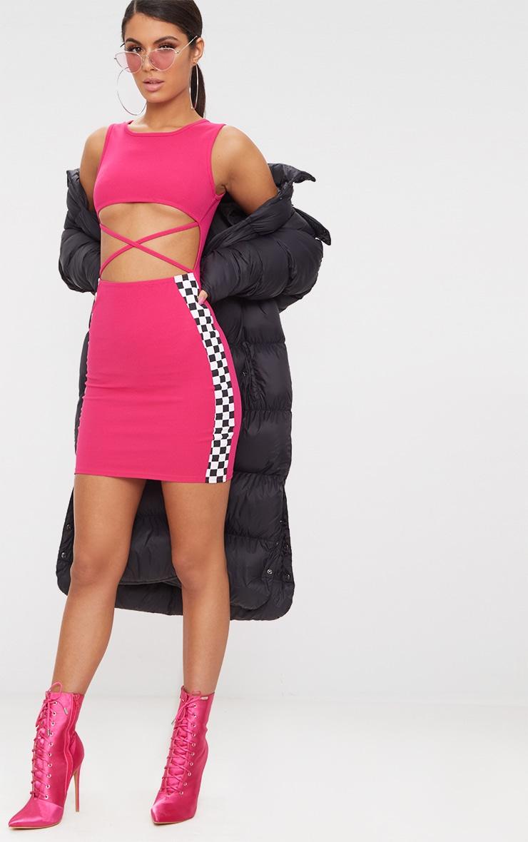 Hot Pink Motocross Under Boob Strap Detail Bodycon Dress 4