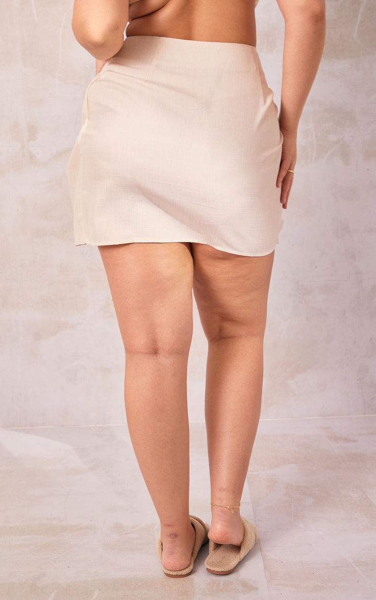 Plus Cream Woven Tie Front Bodycon Skirt 3