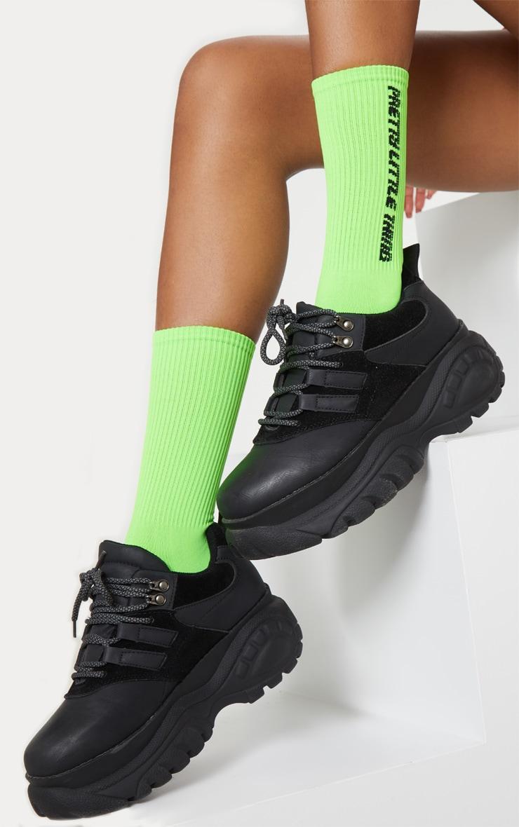 PRETTYLITTLETHING Neon Green Logo Socks image 1