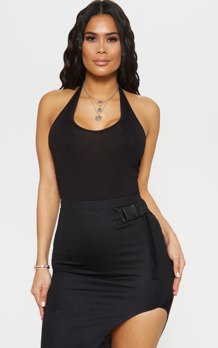 Black Jersey Halterneck Bodysuit 1