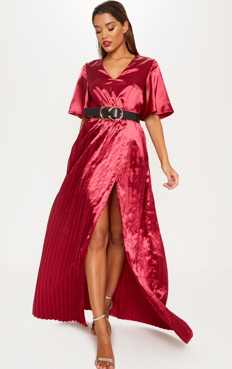 Maroon Satin Flared Sleeve Pleated Maxi Dress