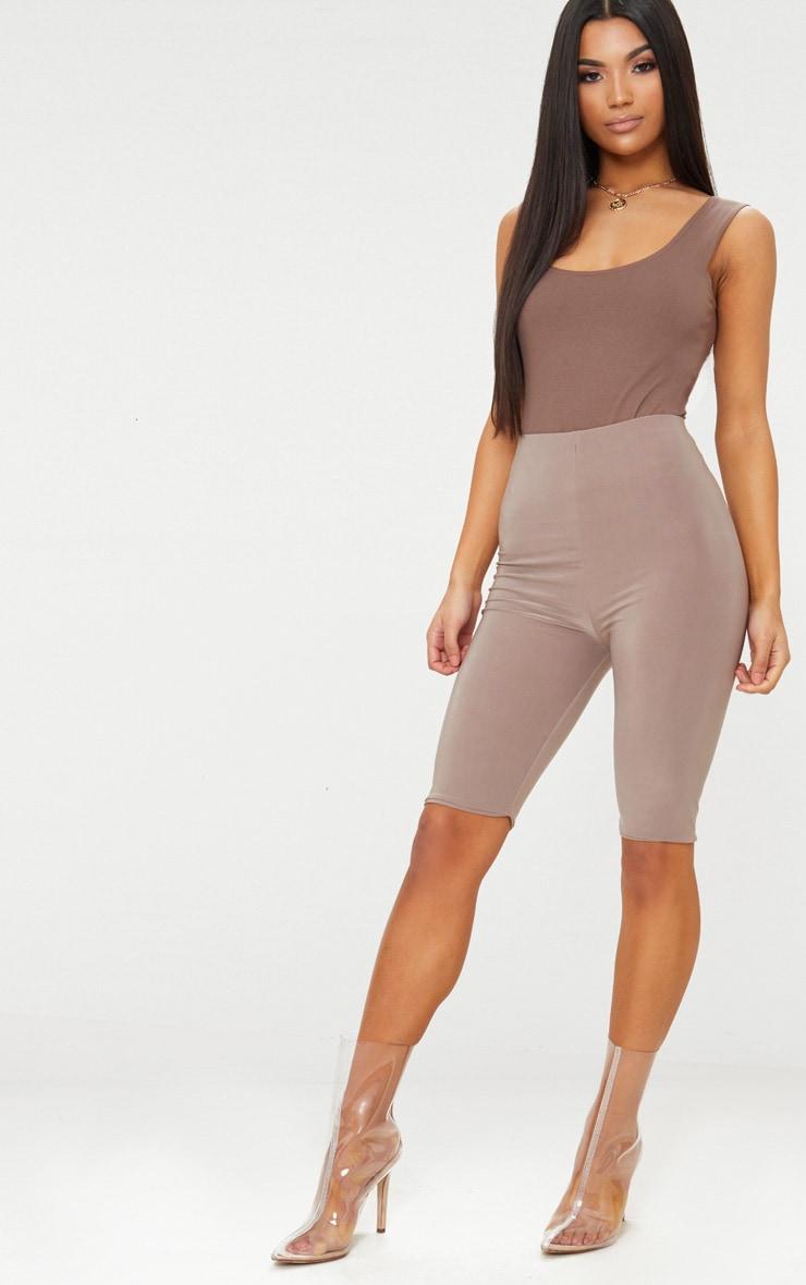 Brown Cotton Stretch Scoop Neck Thong Bodysuit 5