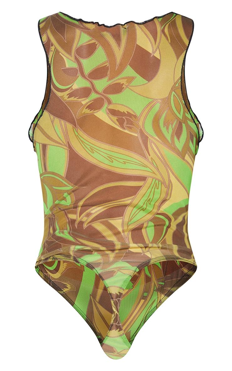Lime Floral Print Mesh Seam Detail Racer Bodysuit 6
