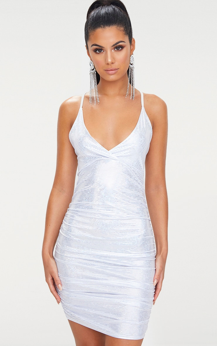 Silver Sequin Printed Plunge Ruched Bodycon Dress 1