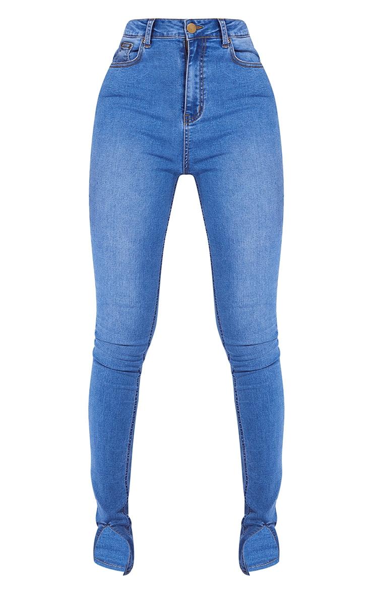 Tall Mid Blue Split Front Skinny Jeans 1