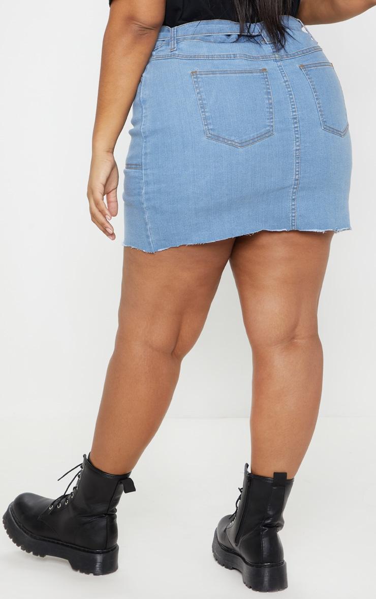PLT Plus - Jupe en jean délavé à ourlet brut et ceinture 4