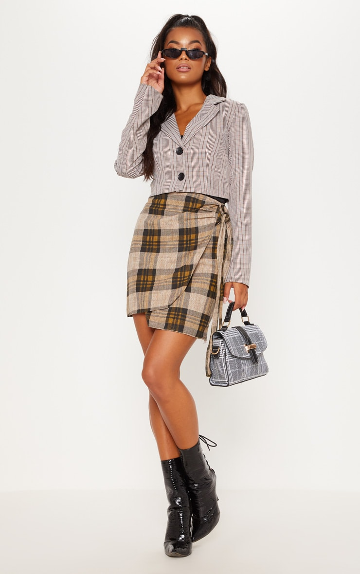 Brown Check Cropped Blazer Top 5