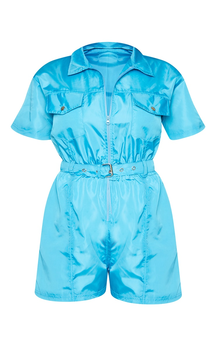Bright Blue Zip Front Shell Utility Playsuit 5