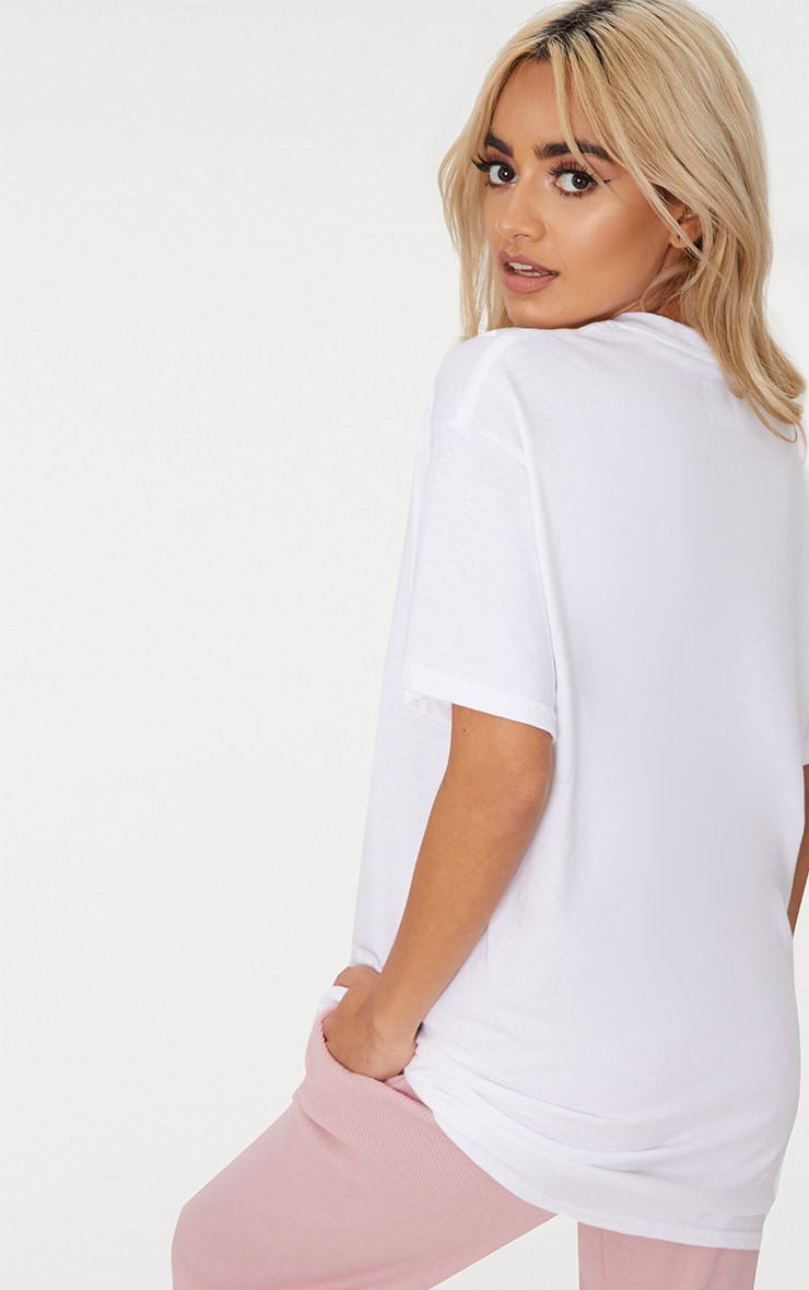 PRETTYLITTLETHING White Rainbow Oversized T Shirt 2
