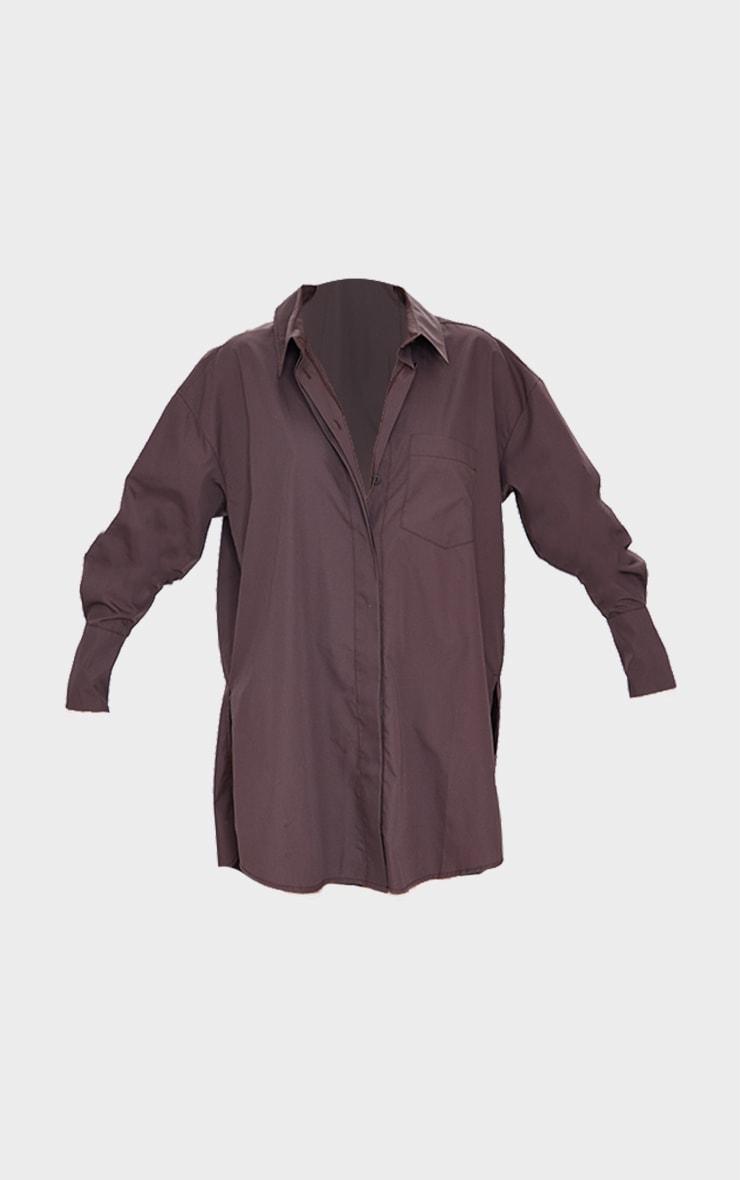 Chocolate Poplin Split Side Detail Shirt Dress 5