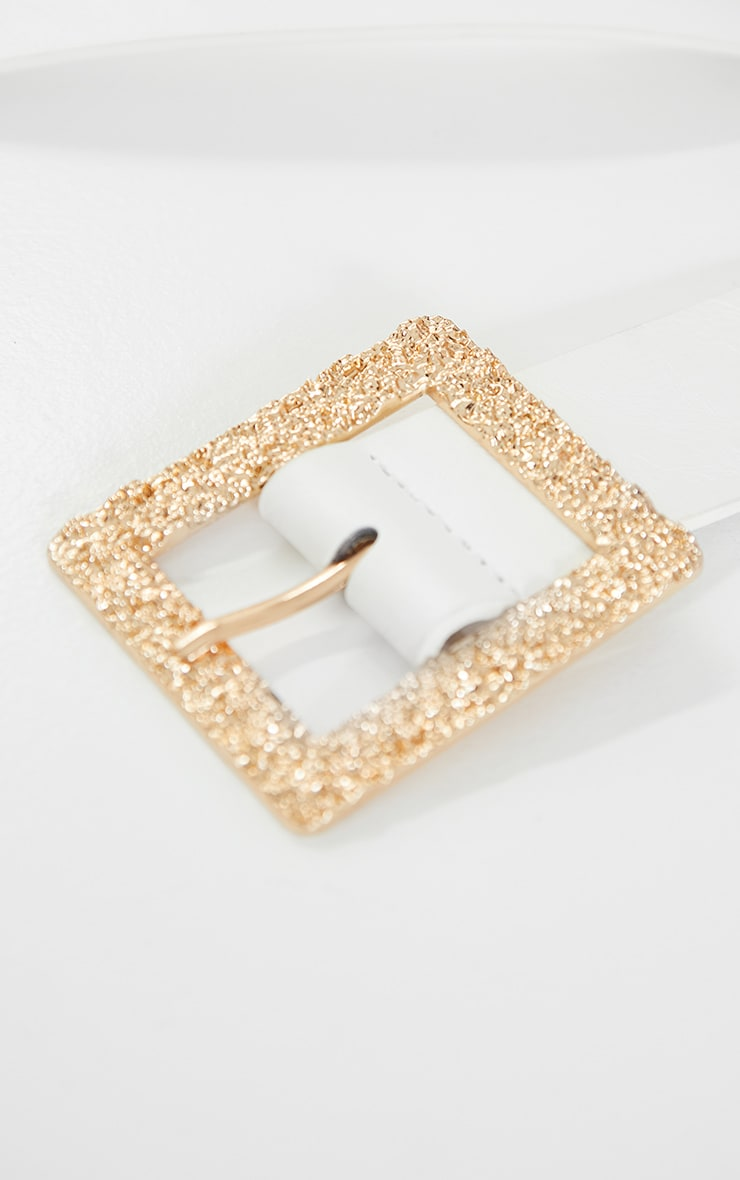 White Textured Gold Square Buckle Belt 4