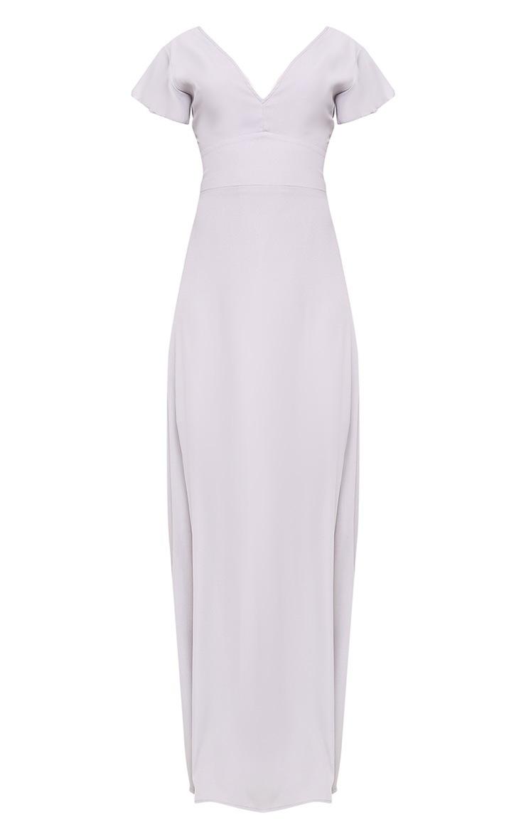 Janeen Ice Grey Plunge Maxi Dress 3