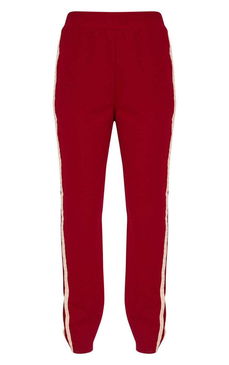 Burgundy Track Stripe Trousers 3