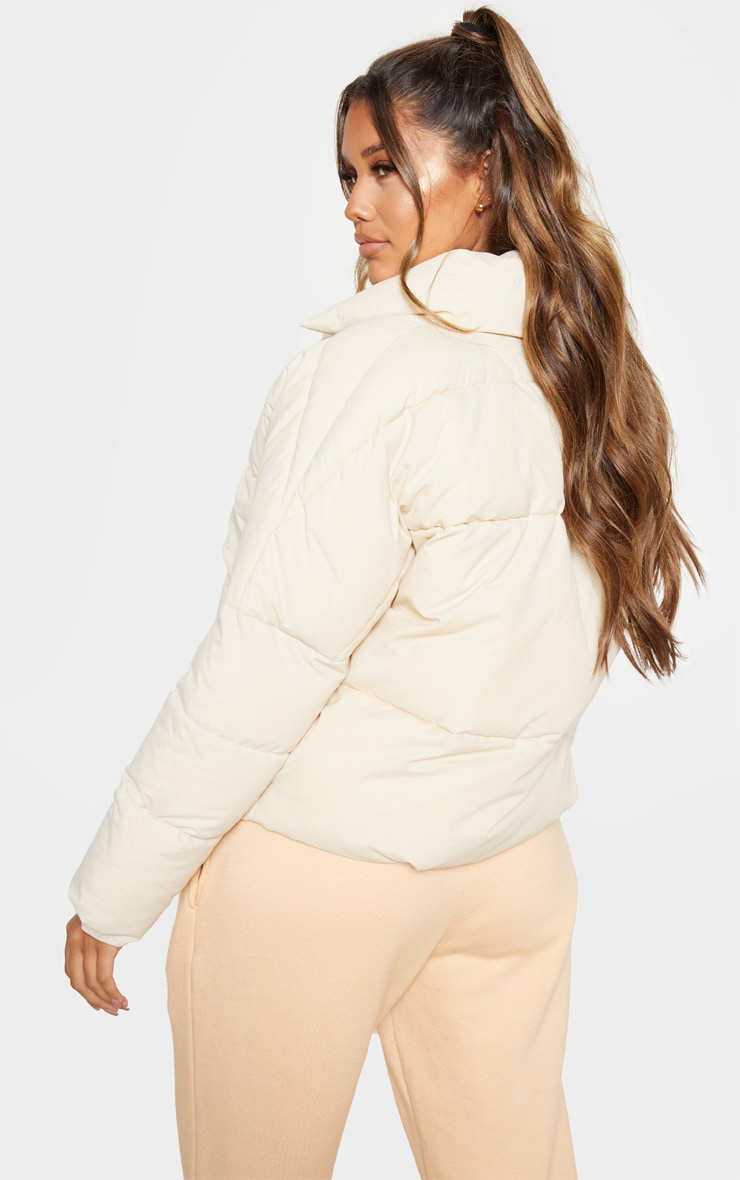 Stone Peached Oversized Cropped Puffer 2
