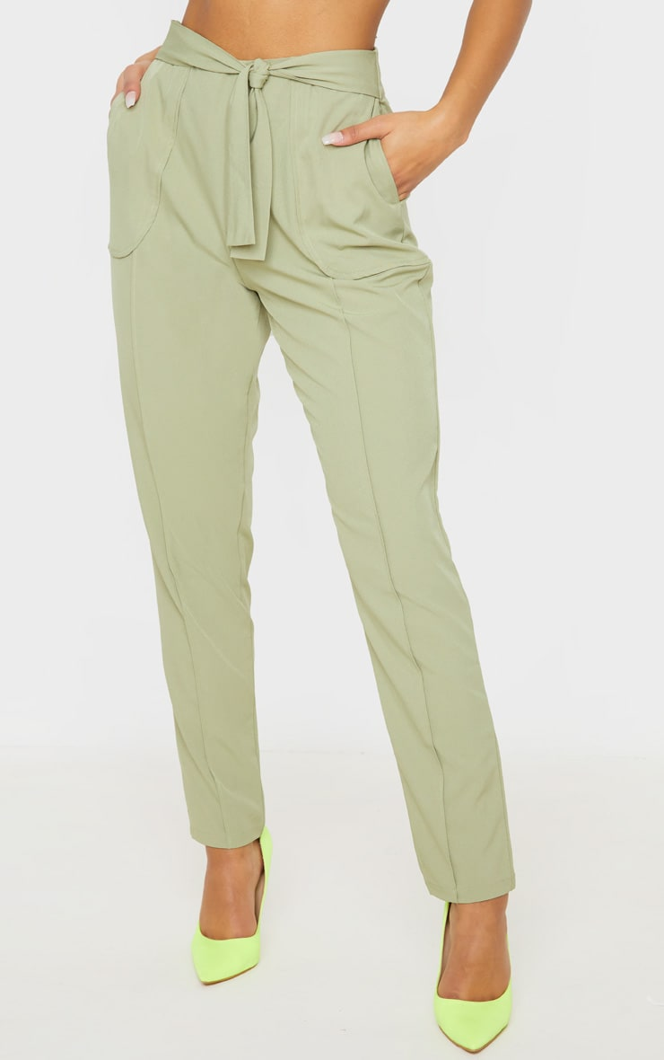 Sage Woven Tie Front Skinny Pants 2