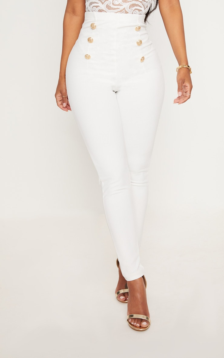 Shape White Military Button Skinny Trousers 2