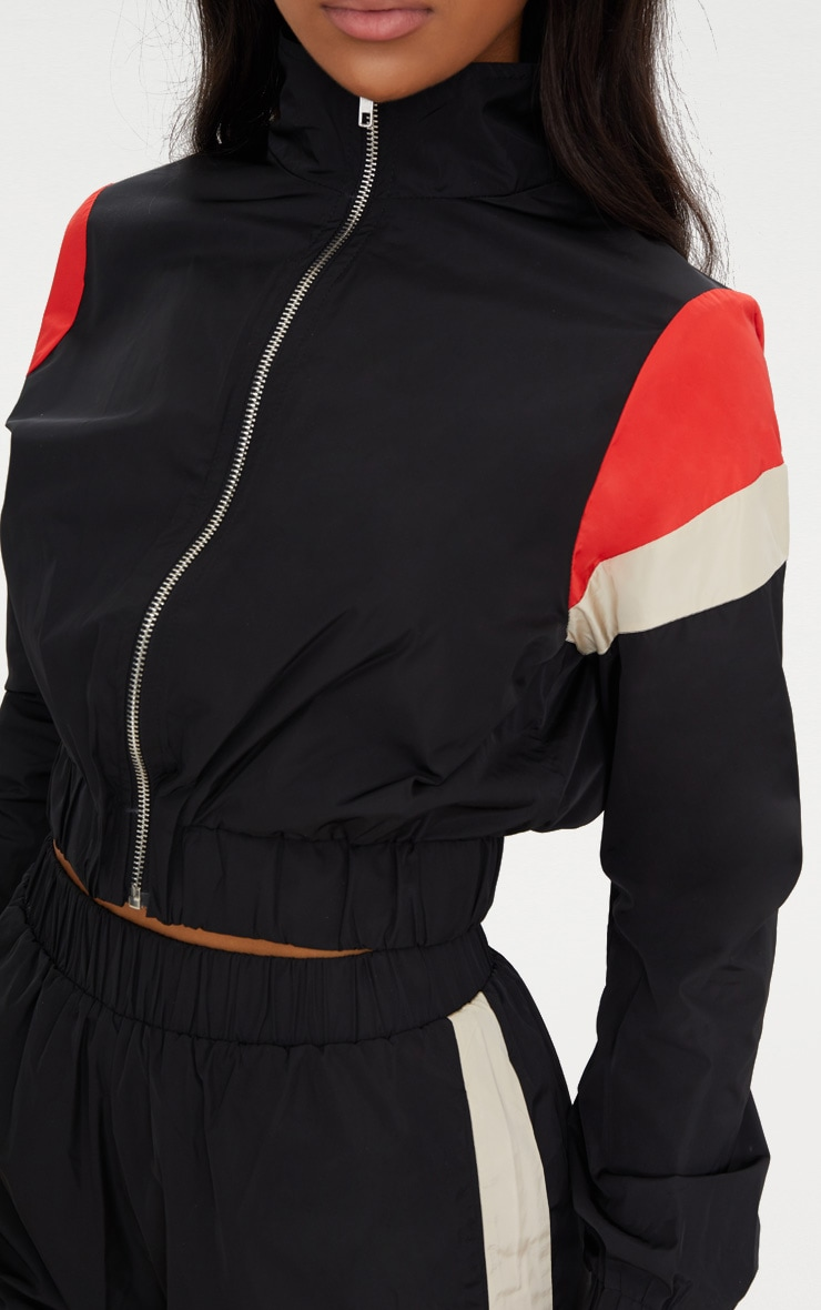 Black Stripe Shell Suit Tracksuit Top 5