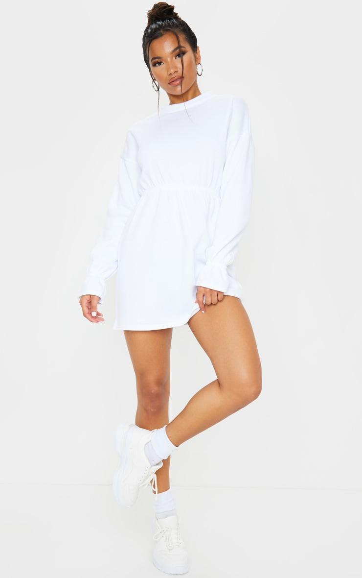 White Elastic Waist Fleece Jumper Dress 3