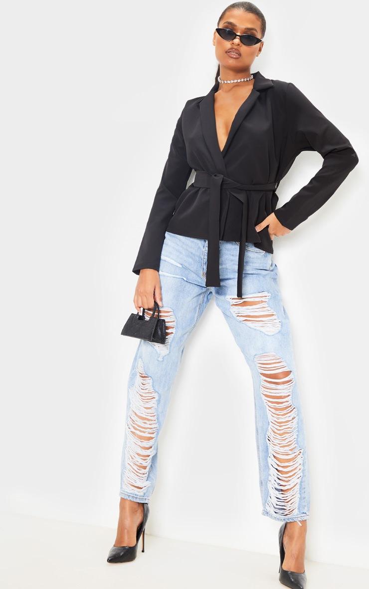 Black Belted Detail Blazer 4