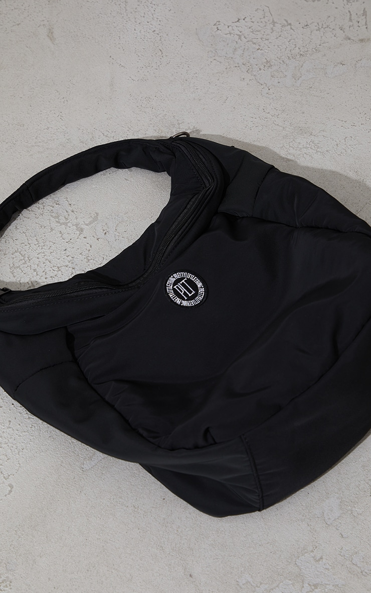 PRETTYLITTLETHING Black Badge Slouchy Tote Bag 3