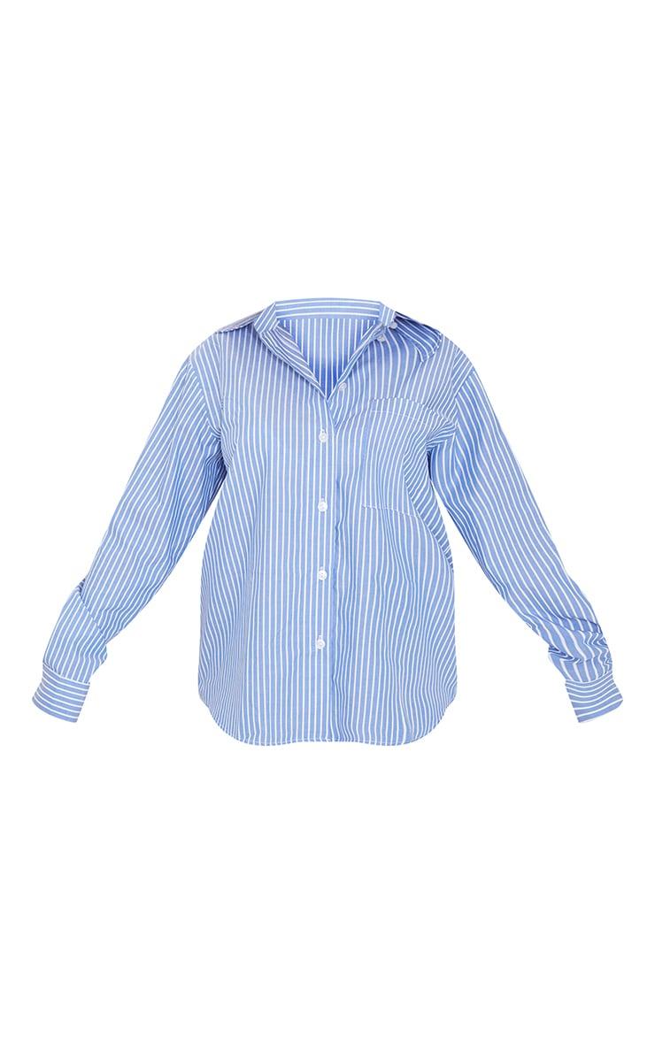 Blue Cotton Stripe Oversized Pocket Shirt 5