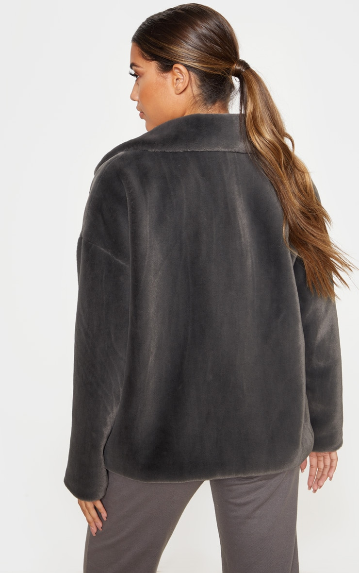 Charcoal Grey Oversized Faux Fur Jacket 2