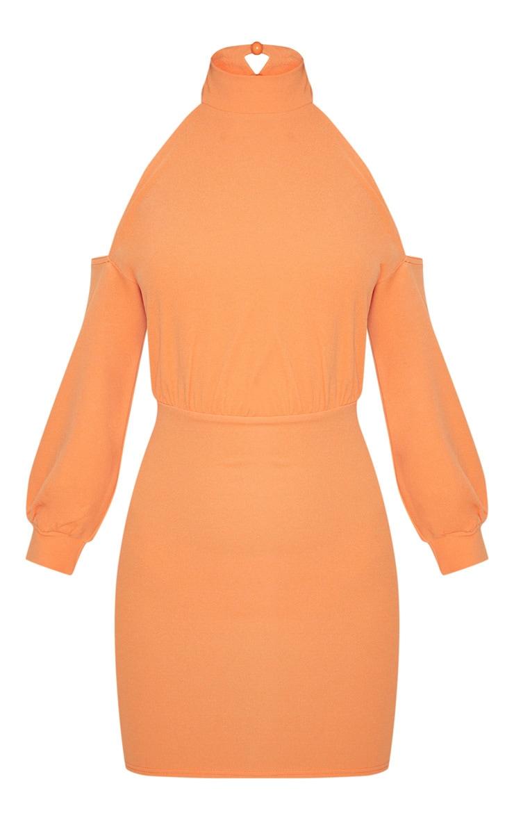 Tangerine High Neck Cold Shoulder Bodycon Dress 3