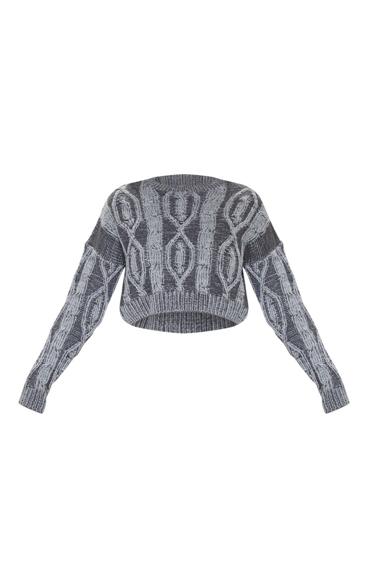 Charcoal Two Tone Cable Knit Jumper 3