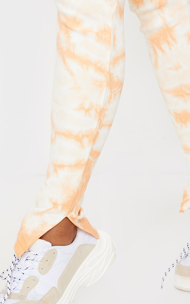 Orange Tie Dye Thick Rib High Waist Split Hem Trousers 4