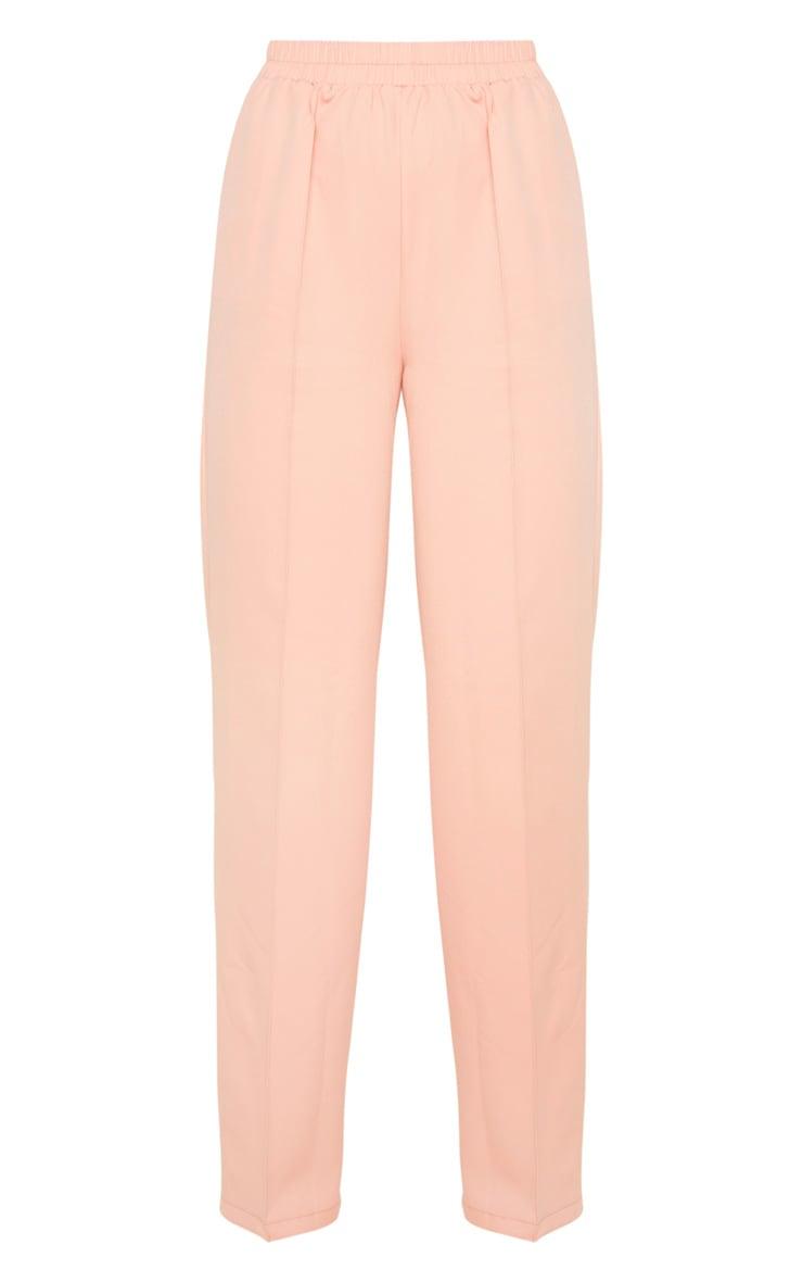 Pantalon rose jambes évasées à taille froncée 3