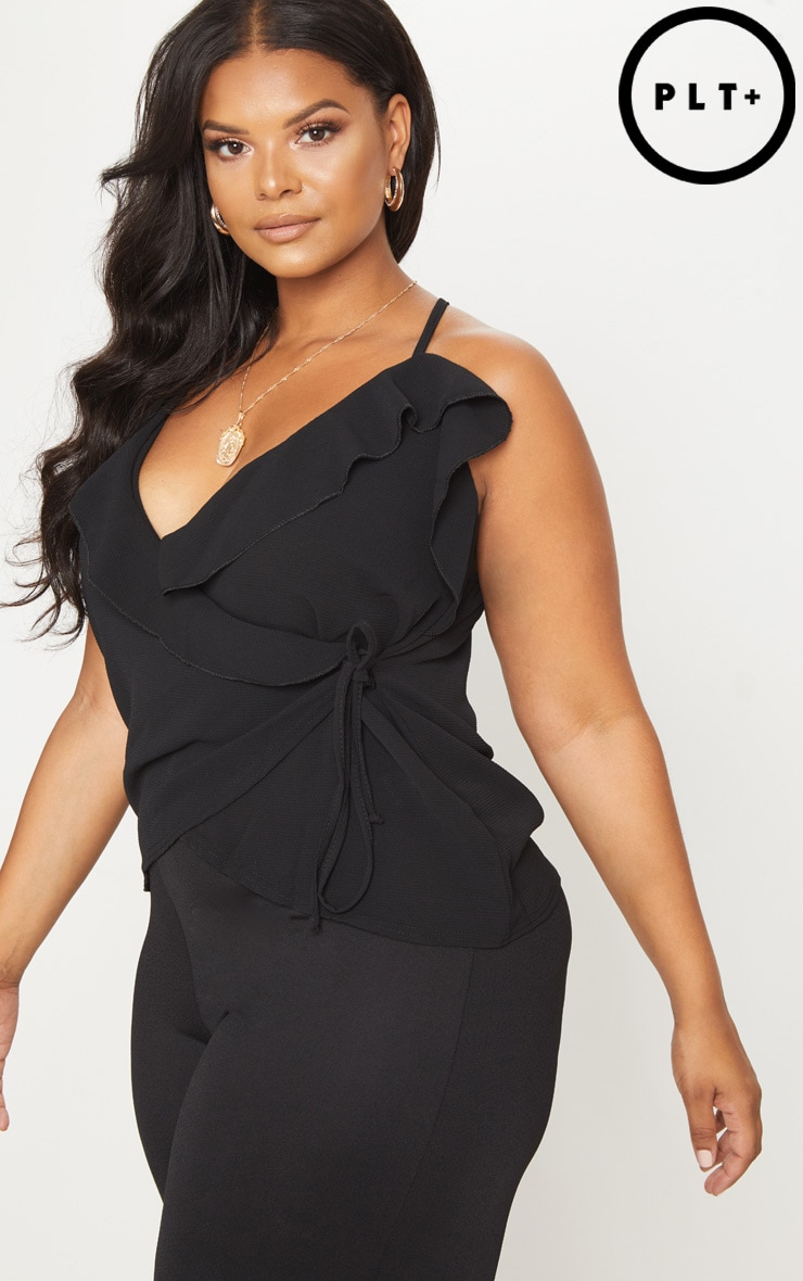 Plus Black Chiffon Frill Cami Top 1