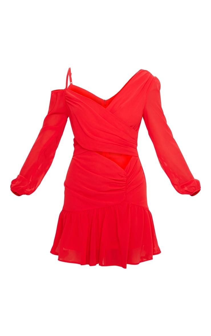 Red Chiffon Cut Out Skater Dress 3