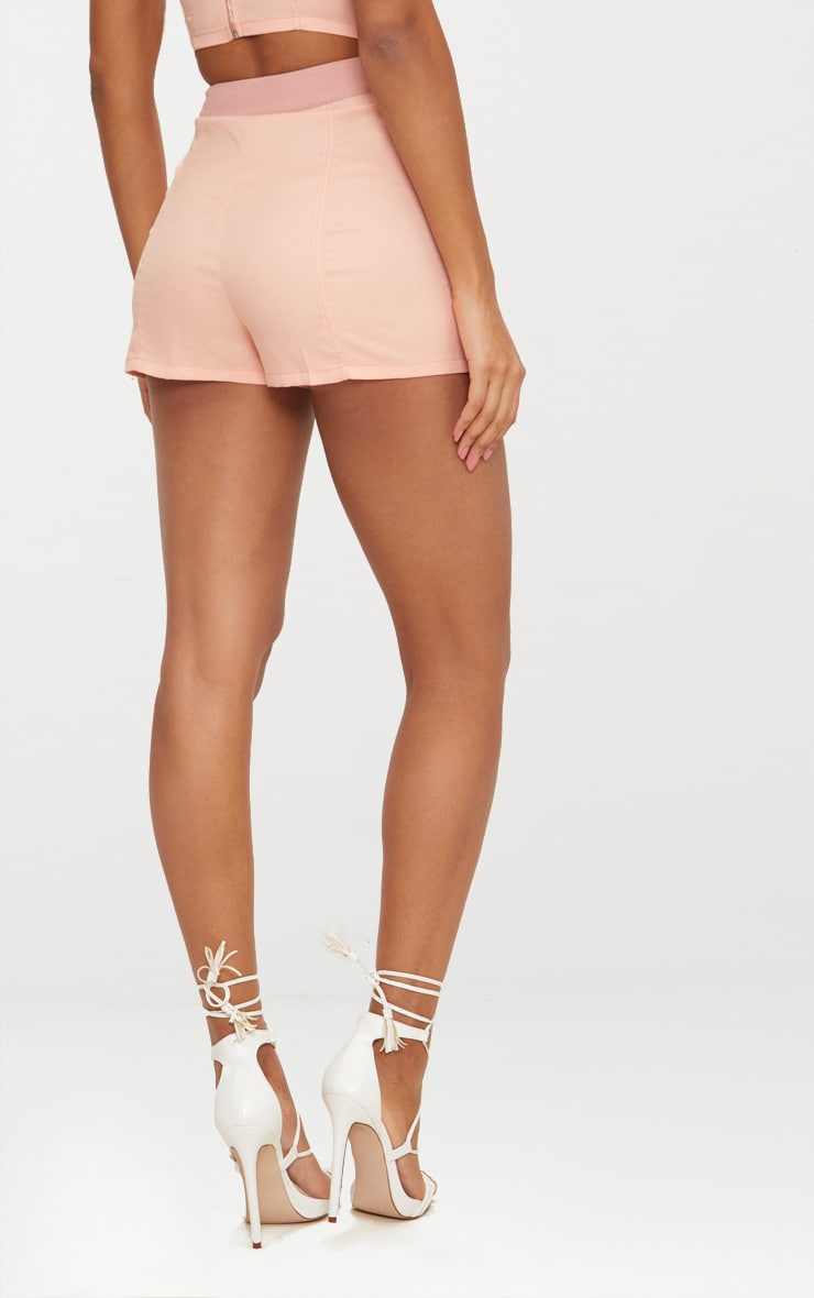 Dusty Pink Contrast Waist Band Formal Shorts  4