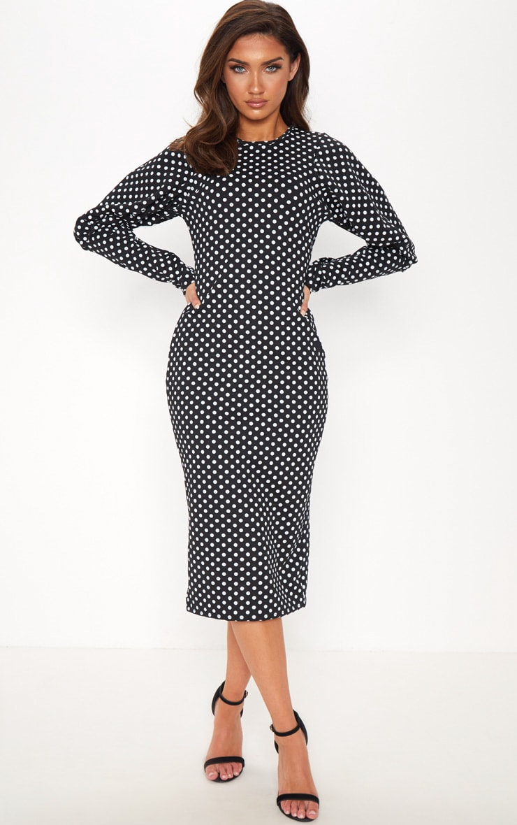 Black Polka Dot Ruched Balloon Sleeve Midi Dress 1