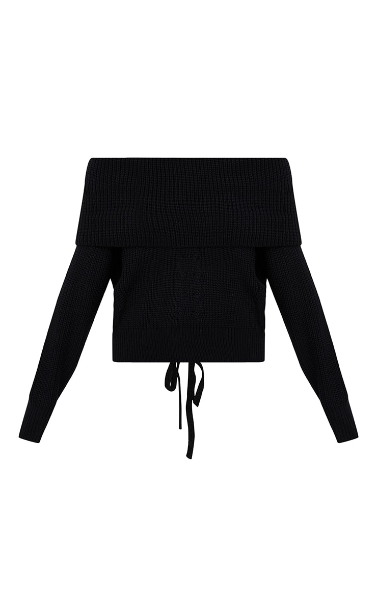 Black Bardot Tie Back Jumper 3