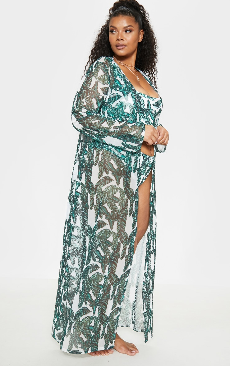 Plus Green Banana Leaf High Waist Bikini Bottom  6