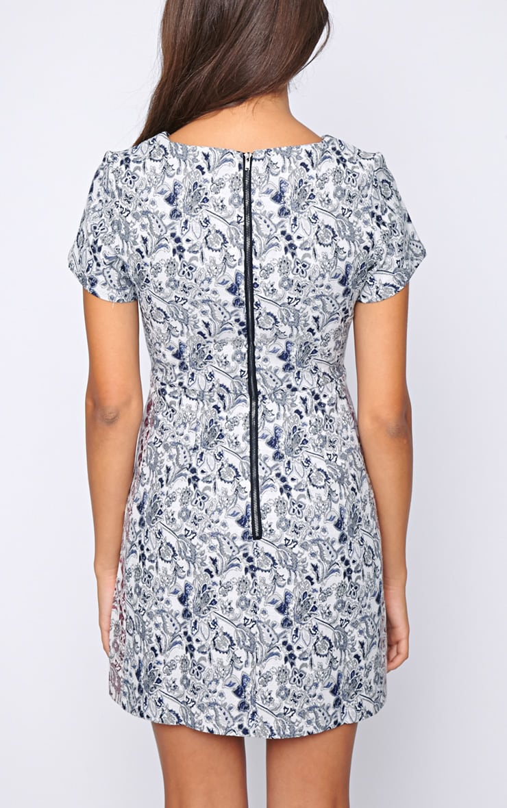 Arya Blue Paisley Print Shift Dress 2