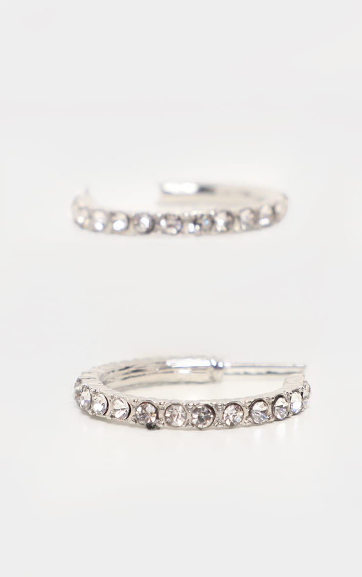 Silver Fixed Diamante Small Hoop Earrings 2